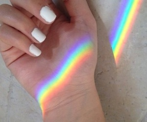 rainbow, nails, and white image
