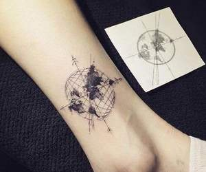 art, compass, and leg image