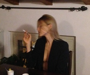 girl, fashion, and cigarette image