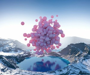 pink, balloons, and mountains image