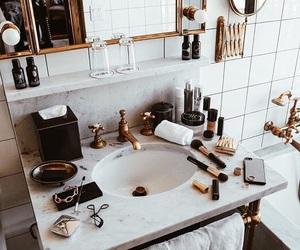 bathroom, makeup, and gold image