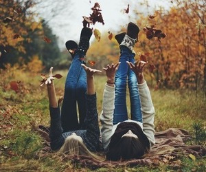 autumn, girl, and friends image