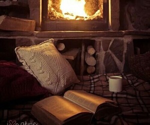 fire, book, and fireplace image