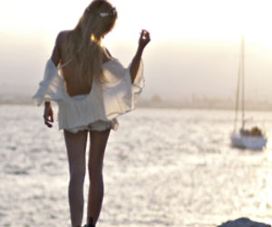 ocean, sunset, and dress image