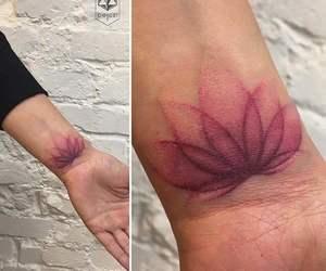 art, lotus, and tattoo image