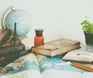 books, globe, and flower.. image