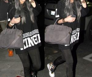 fashion, grey hair, and handbags image