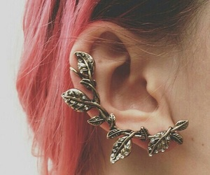hair, earrings, and pink image