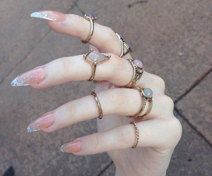 nails, rings, and tumblr image