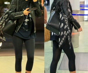 black leggings, curly hair, and outfit image
