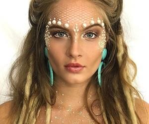 girl, makeup, and mermaid image