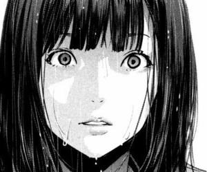 anime, b&w, and girl image