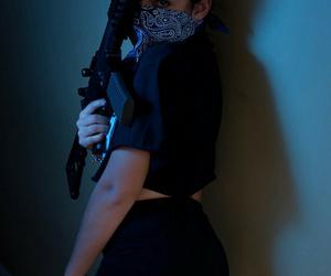girl, gun, and bandana image