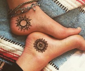 tattoo, feet, and mandala image