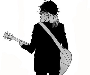 black&white, momo, and guitar image