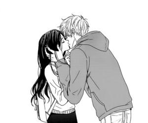 couple, manga, and black&white image
