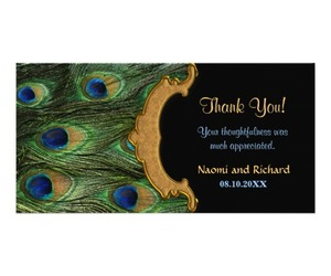 feather, peacock, and thank you card image