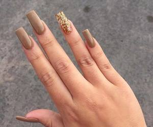 nails, brown, and glitter image