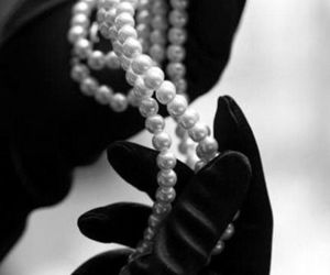 pearls, black and white, and gloves image