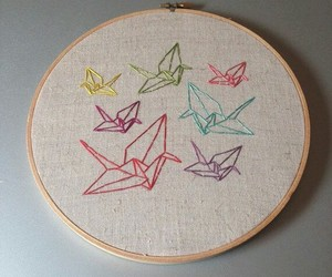 colors, cranes, and embroidery image