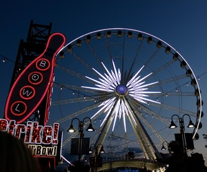 ferris wheel, lights, and niagara falls image