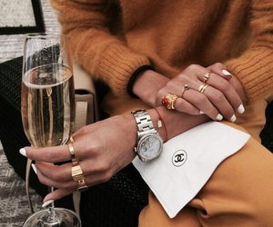 champagne, sweater, and fashion image