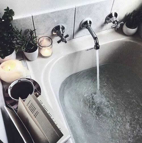 bath, book, and water image