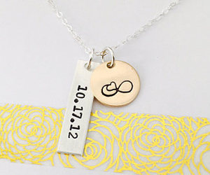 etsy, couples necklace, and mixed metal necklace image