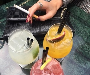 drink, cocktail, and cigarette image