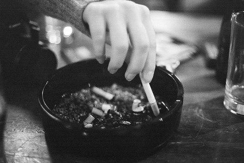 black and white, cigarette, and smoke image