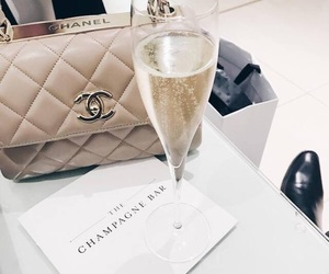 chanel, bag, and champagne image