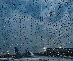 rain, travel, and airport image