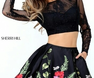 sherri hill 50777, two piece dress, and floral print dress short image