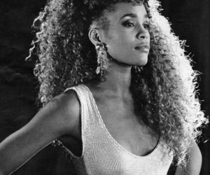 whitney houston and black and white image