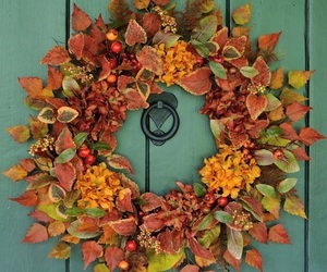 autumn, decor, and door image