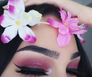 makeup, flowers, and eyebrows image