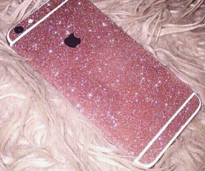 glitter, golden pink, and iphone image