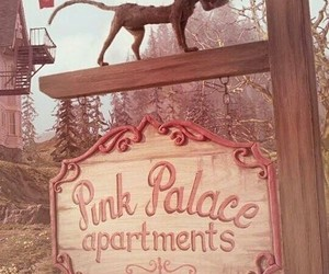 coraline, cat, and pink palace image