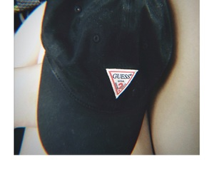 black, guess, and hat image
