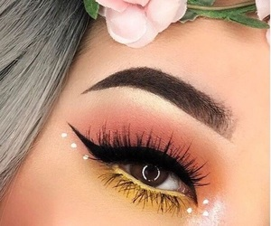 makeup, make up, and flowers image