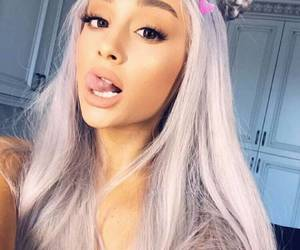 grey hair and ariana grande image