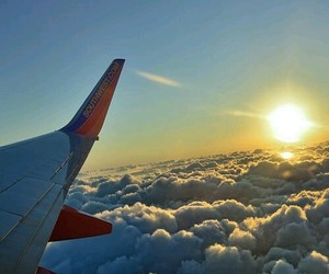 air, airplane, and clouds image