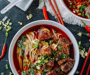 noodles, soup, and beef image