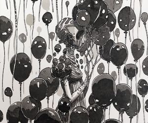 art, baloon, and black image