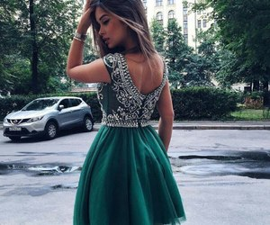 dress, green, and outfit image