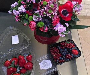 flowers, red, and strawberry image