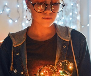 girl, lights, and shine image