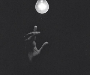 light, black and white, and dark image