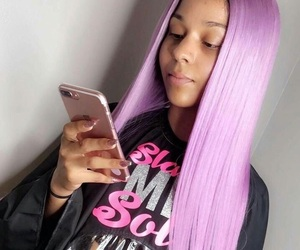 hair, purple, and laid image