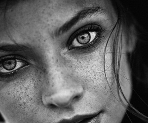 beautiful eyes, black and white, and model image